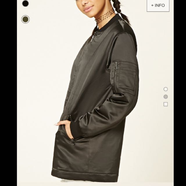 Thick Long Black Bomber Jacket (WITH TAG)