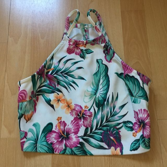 Tropical print high rise crop size S