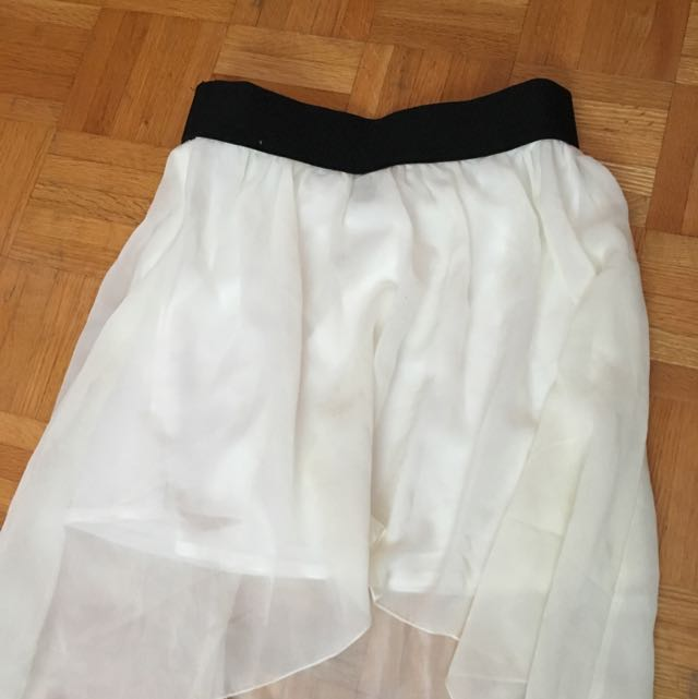 White high low skirt