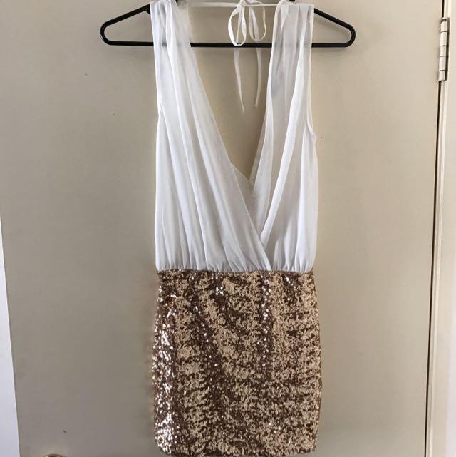 White Sheer Mini Dress W/ Gold Skirt