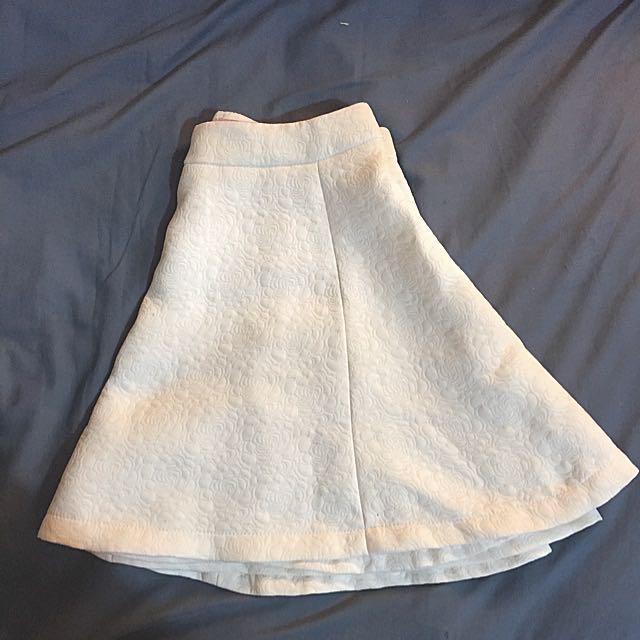White Skater Skirt Floral Imprinted Pattern