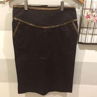 MALDITA chocolate brown pencil skirt