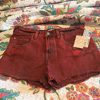 BNWT Free People Red Denim Shorts Size 29