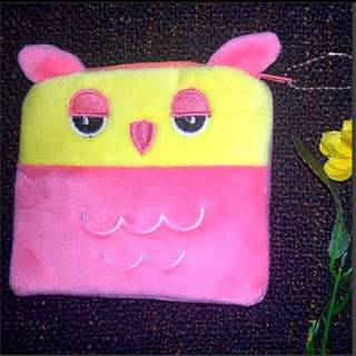 Pink Owl Pouch Square