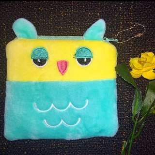 Turquoise Owl Pouch Square