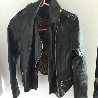 Suzy Shier leather gold zip jacket