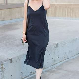 Oak + Fort black slip dress