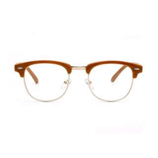 Clubmaster Style Horned Rim Half Frame With Clear Lens-Wood Print