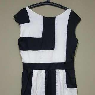Midi Black And White Dress