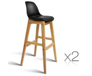 Set of 2 High Seat Back Barstools – Black
