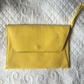 Sportsgirl Yellow Oversized Envelope Clutch