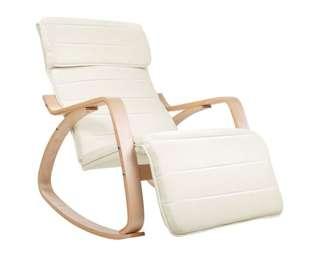 Birch Plywood Adjustable Rocking Lounge Arm Chair w/ Fabric Cushion Beige
