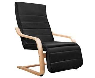Birch Bentwood Adjustable Lounge Arm Chair w/ Fabric Cushion Black
