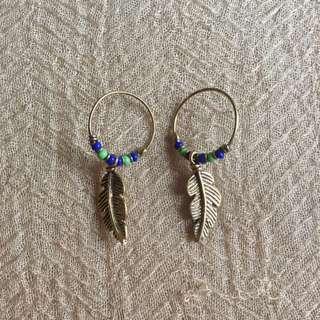 Beaded Brass Fearher Earrings