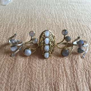 Precious Stone Brass/Steel Rings (large Size)