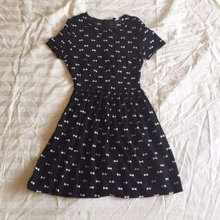 H&M Ribbon Print Fit and Flare Dress