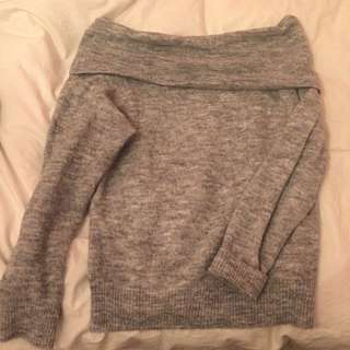 Marled Grey off-shoulder sweater