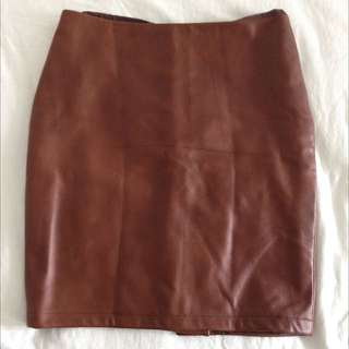 Pebble Leather Brown Mini Skirt Size L
