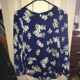 Blue Flower Print Blouse