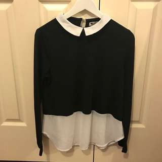 Temt Black Collared Long Sleeve Top