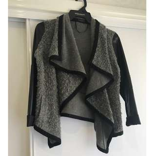GREY KNIT/ LEATHER CARDI