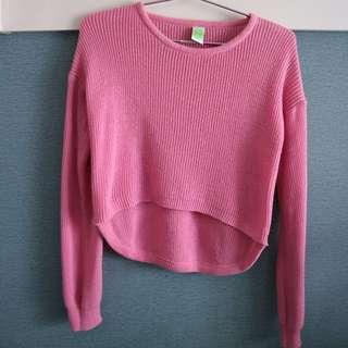 Cropped Knit Sweater - Pink