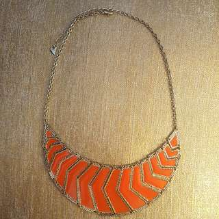 Orange & Gold Statement Necklace