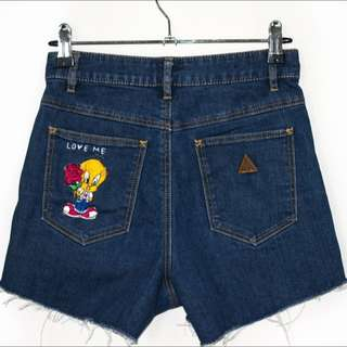 HAND EMBROIDERED Abrand TWEETY LOVE ME Shorts