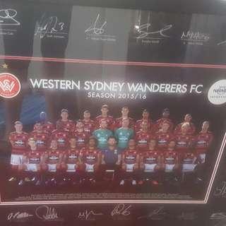 Western Sydney Wanderers Signed and Framed Team Poster 2015/16
