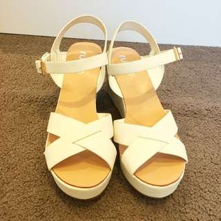 Rubi Shoes- White Cross Strap Wedges