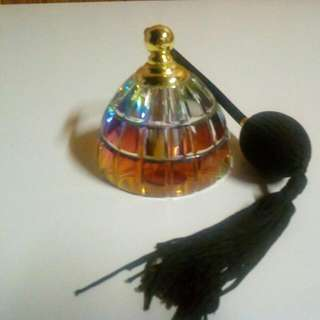 Antique Crystal Colour Changing Perfume Pump Bottle.