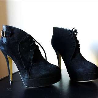 Tony Bianco Black Suede Lace Up Heeled Boots - Size 9 1/2