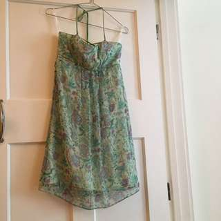 Green Baby Doll Style Holder Neck Flattering Tie Party Dress