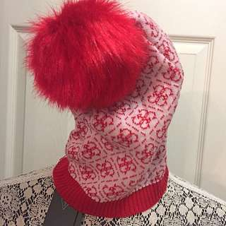 Guess Red Toque With Pom-Poms