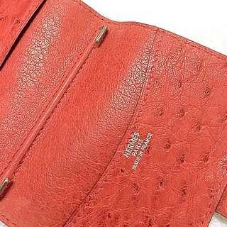 原價約8萬HERMES ostrich card holder card cases 愛馬仕 鴕鳥皮  名片夾 卡夾