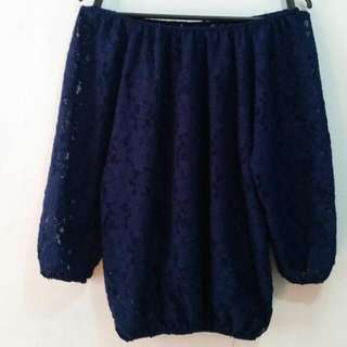Off Shoulder Navy Blue