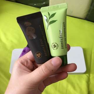 [1+1] INNISFREE Super Volcanic Pore Clay Mask 20ml & Green Tea Sleeping Mask 20ml