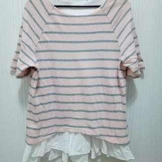 🚚 MOBO假二件條紋粉色五分袖上衣