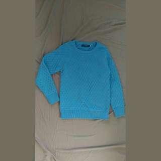 韓系 淺藍 針織毛衣