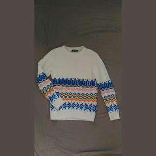 圖騰 白色針織毛衣