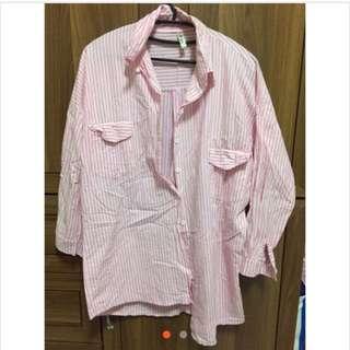 粉紅直條紋長版襯衫 二手