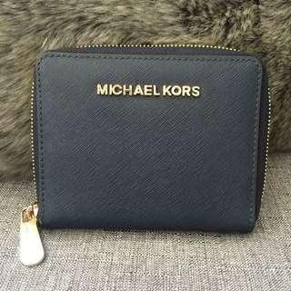 Michael Kors Wallet - Navy/Gold tone Hardware