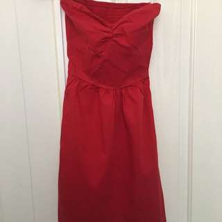 Red Strapless Dress, Size S