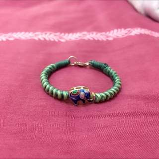 純銀蠶絲蠟線手環-烤藍 小象 baby手環