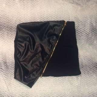 Black Half Leather Mini Skirt