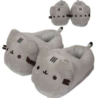 34a453d4127d  FREE DELIVERY  Cute Anime Japanese Pusheen Cat Plush Shoes Slippers