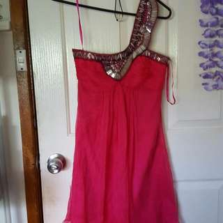 Sheike Raspberry Fairytale Silk Dress Size 6