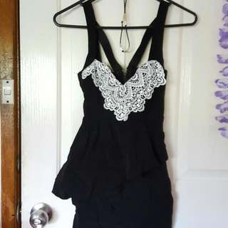 Black Asymmetrical Peplum Dress Size 6