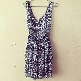 Aztec Dress - Navy Blue