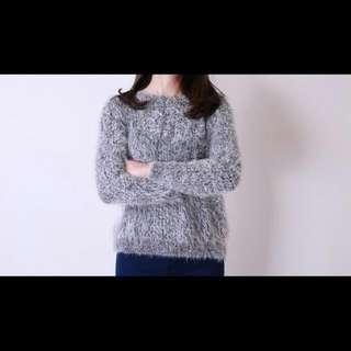 深藍色毛海針織毛衣